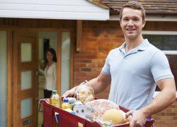 Man Delivering Online Grocery Order